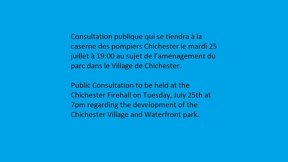 Chichester village and Waterfront park !!! Public Consultation !!!