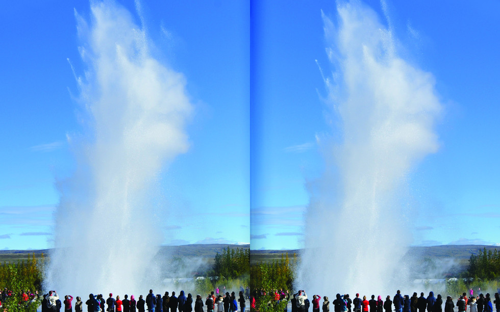 Strokkur in 3D. Geysir, Haukadal. For stereoscopic viewing.