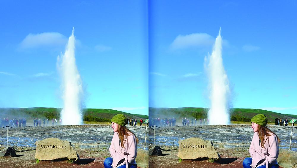 Stereoimage of Strokkur, Iceland