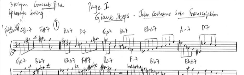 Giant Steps - John Coltrane solo transcription (Handwritten)
