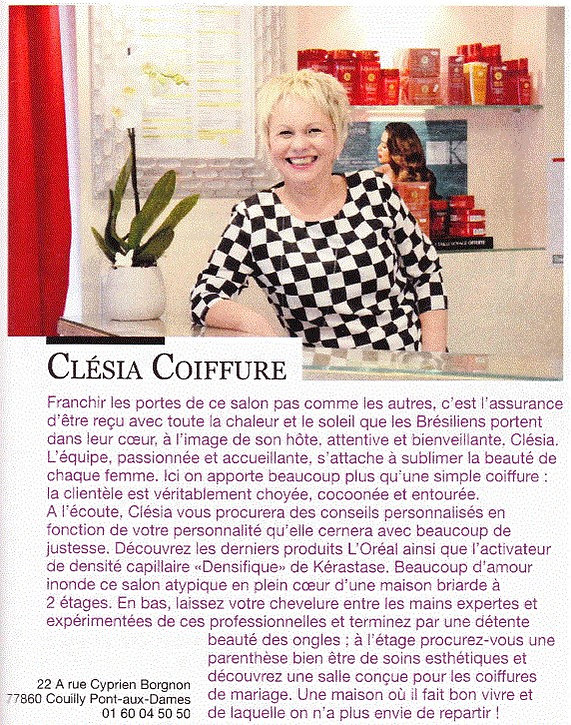 Clésia Coiffure dans GALA