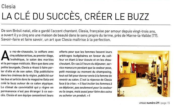 Clésia Coiffure magazine Unique