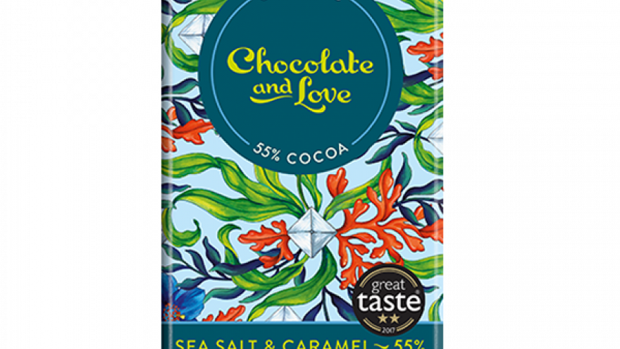Chocolate & Love Organic Sea Salt 55% Choc with Caramel