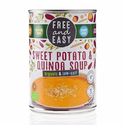 Free & Easy Organic Sweet Potato & Quinoa Soup - low salt