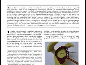 Мою статью опубликовали в апрельском номере журналаArthroscopy Techniques!