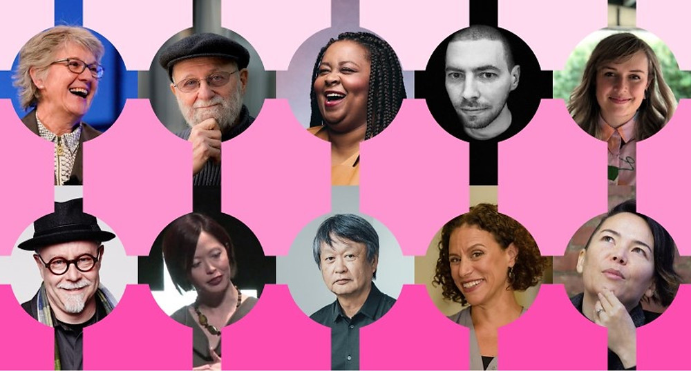 The designers featured in the title image include, from top left to bottom right, Jeanne Lietdka, Donald Norman, Antionette Carroll, Frank Chimero, Kelly Ann McKercher, Tim Brown, Joyce Lee, Naoto Fukasawa, Suzanne Gibbs Howard, and Kat Holmes.