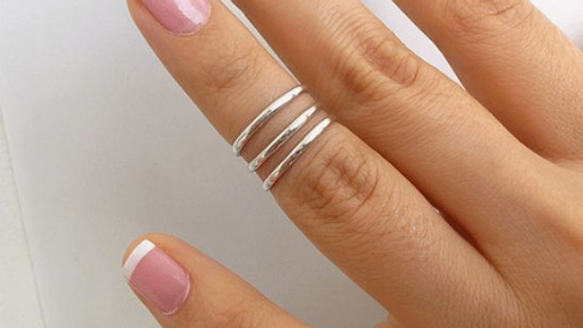 Anillo midi  triple line ajustable