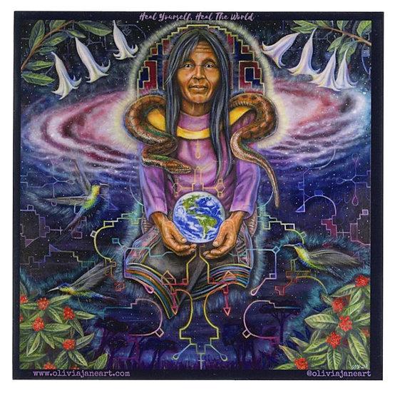 """Heal Yourself, Heal The World"" Vinyl Sticker"