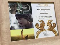 Enya Lechuga ganadora del premio Best Young Actress en el festival GLOBAL NONVIOLENT de Canadá