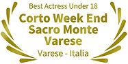 Mejor actriz menor de 18 años Corto Week End Sacro Monte Varese