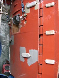 The leading edge of the rudder has been badly eroded over 4 years of operation and required rebuilding and resurfacing using UPS 105 EG Metal Repair Paste & UPS 205 FG Fluid Grade Ceramic