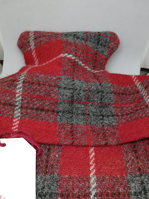 Red and grey check hot water bottle cosy