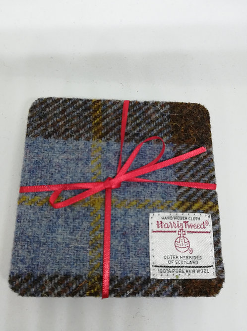 Brown and green check coasters