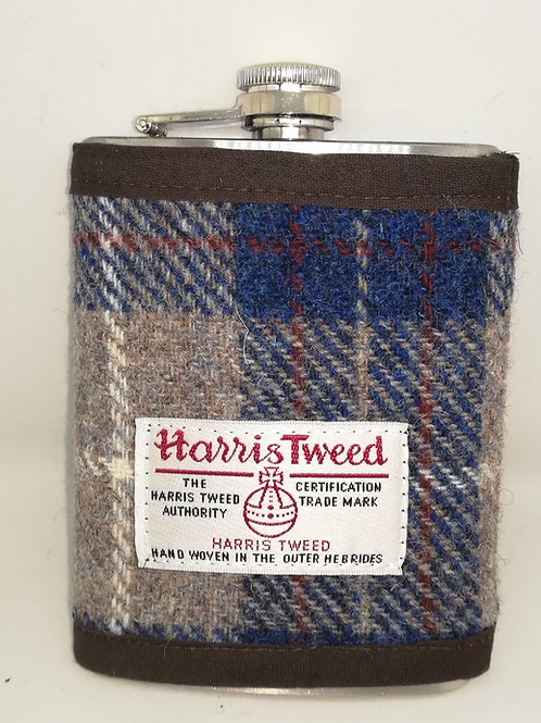 Blue and beige hip flask