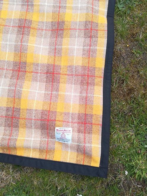 Mustard Harris Tweed Picnic blanket/picnic rug