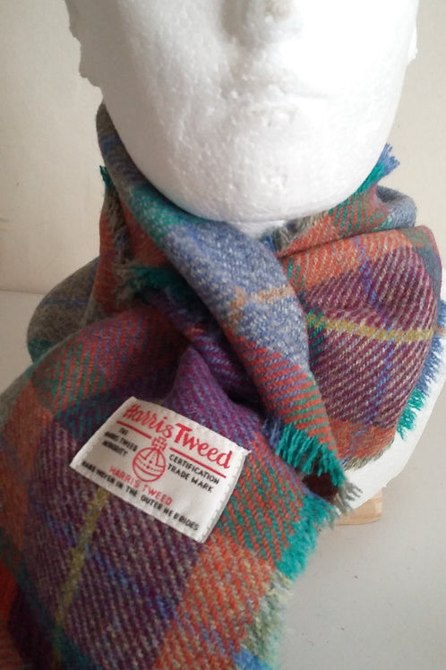 Orange, green blue, grey, purple scarf