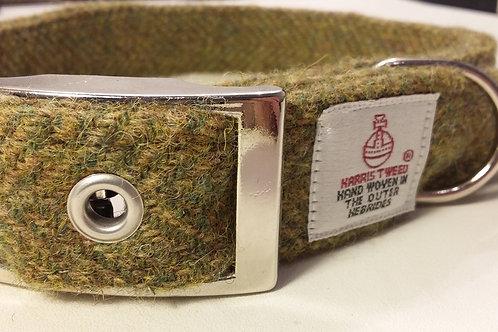 The Olive Green Harris Tweed dog collar