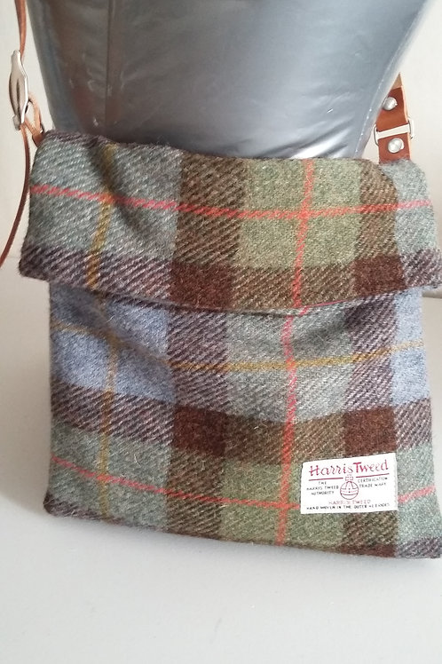 Brown and Blue check Harris Tweed cross body bag  Small