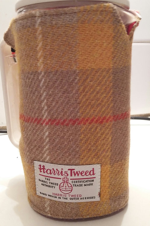 Mustard yellow check coffee pot cosy
