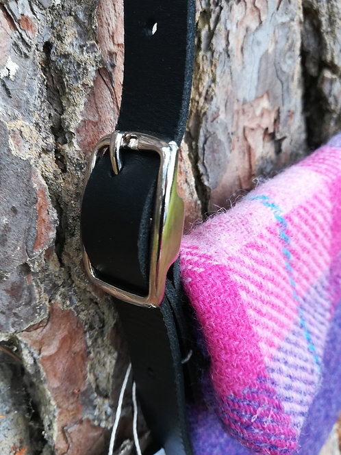 Pink and purple Harris Tweed cross body bag