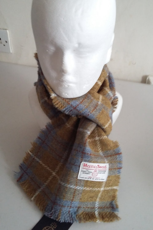 Dark mustard and blue check scarf