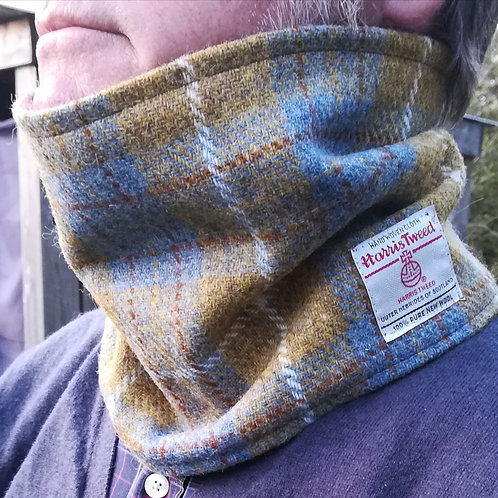 Mustard and blue check neck cowl
