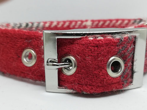 The Red and Grey checked Tweed collar
