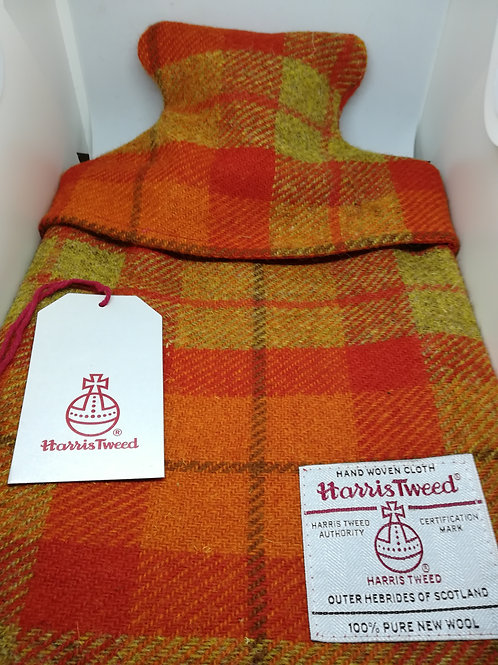 Orange check hot water bottle cosy