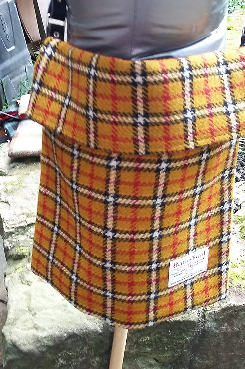 Yellow, black and white with red stripe check Harris Tweed cross body bag Large