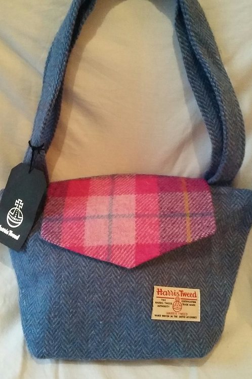 Blue Harris Tweed Handbag