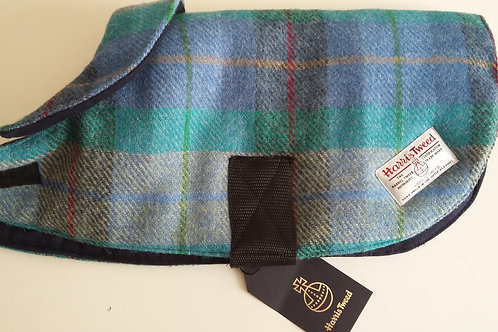 Pale blue, green & grey Tweed Dog Coat - Small