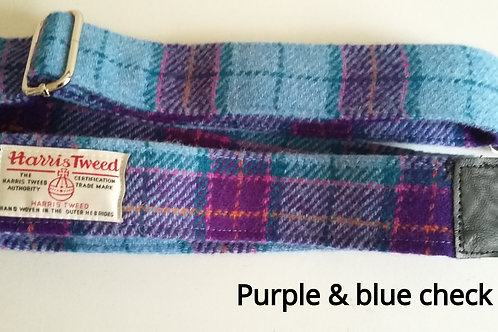 Purple and Blue check Tweed Guitar strap