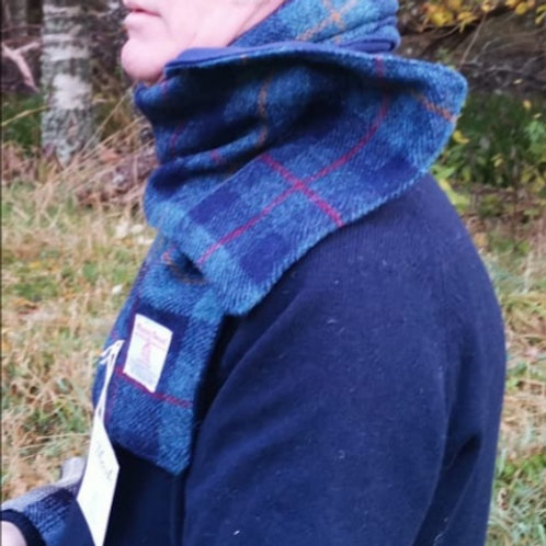 Navy blue check scarf
