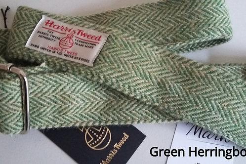 Green Herringbone  Tweed Guitar strap