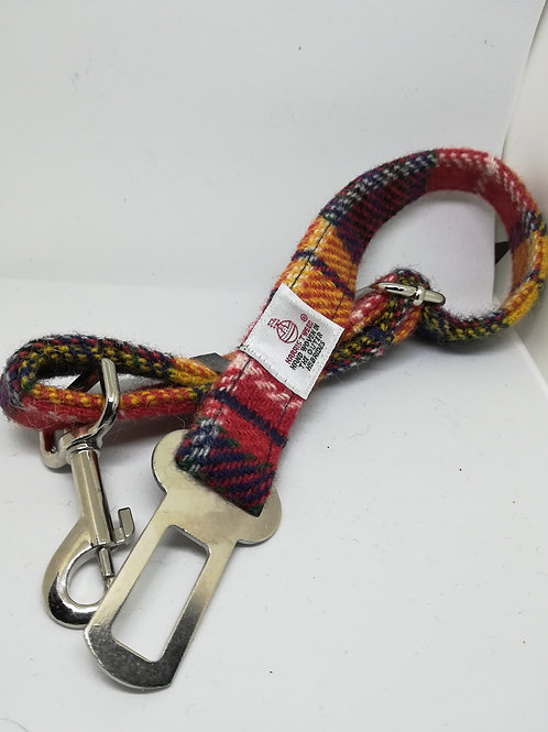 Red, Yellow & Blue  check Dog seat belts