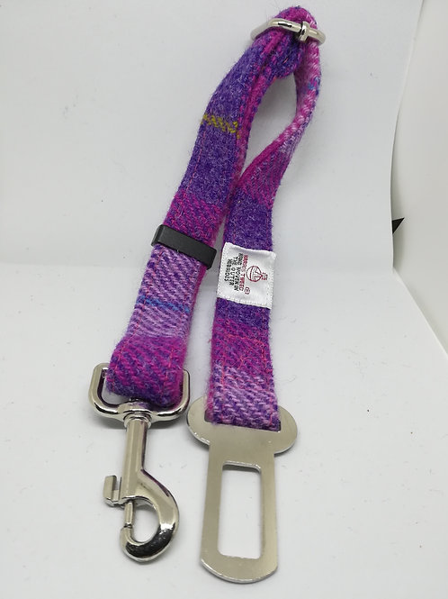 Pink and Purple check Dog seat belts