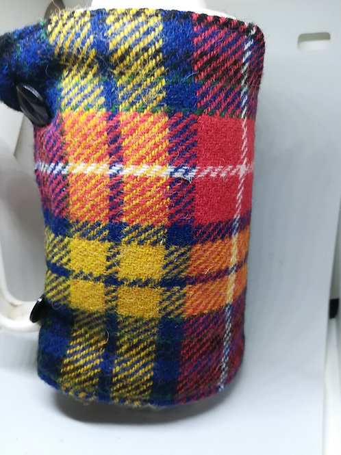 Red, blue and yellow check coffee pot cosy