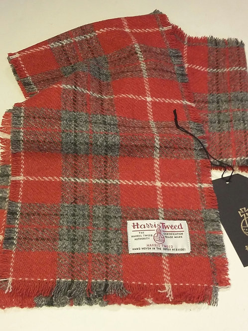 Red, grey and white check scarf