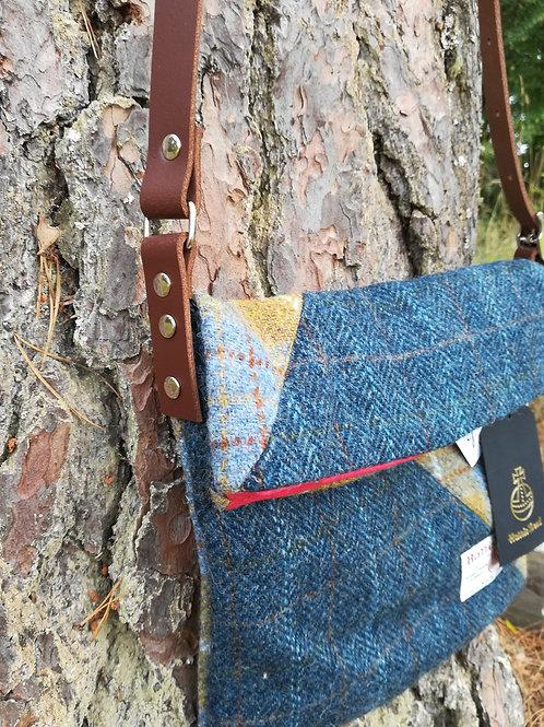 Harris Tweed cross body bag - Mustard and blues
