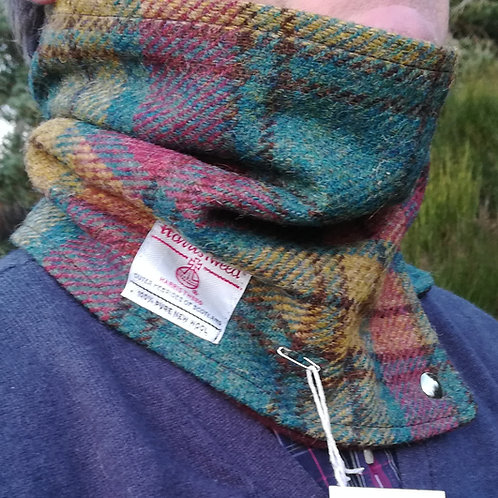 Burgundy, green and mustard check neck cowl