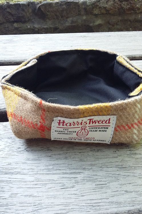 Mustard yellow check Harris Tweed bowl