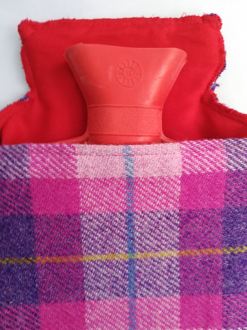 Pink & purple check hot water bottle cosy