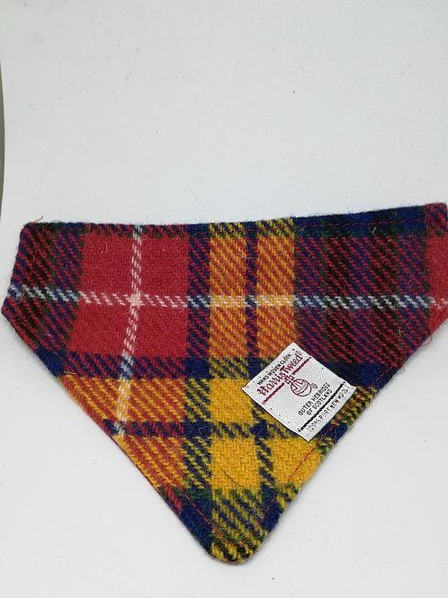 Red yellow and blue check bandana