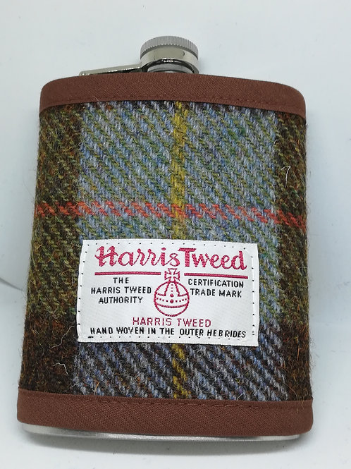 Brown and green check hip flask