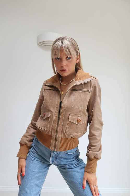 80s brown leather bomber