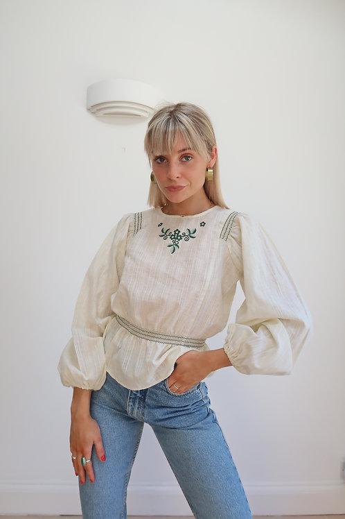 70s balloon sleeve blouse