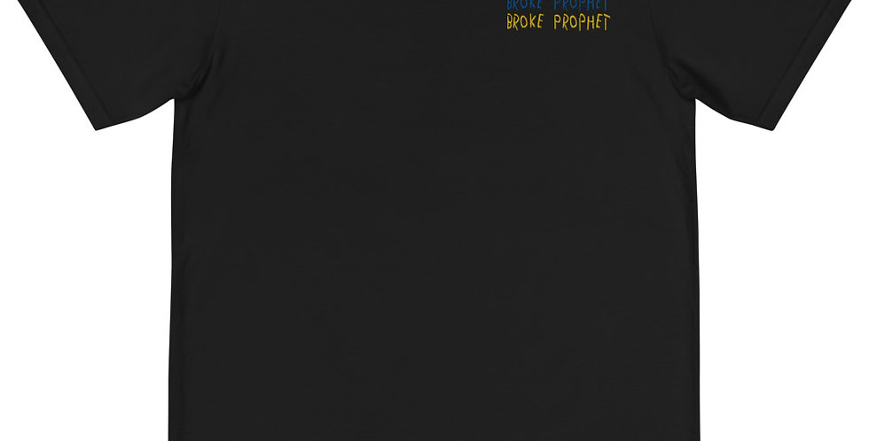"House Of Autumn ""Broke Prophet"" Blu/Yllw embrorderied Organic T-Shirt"