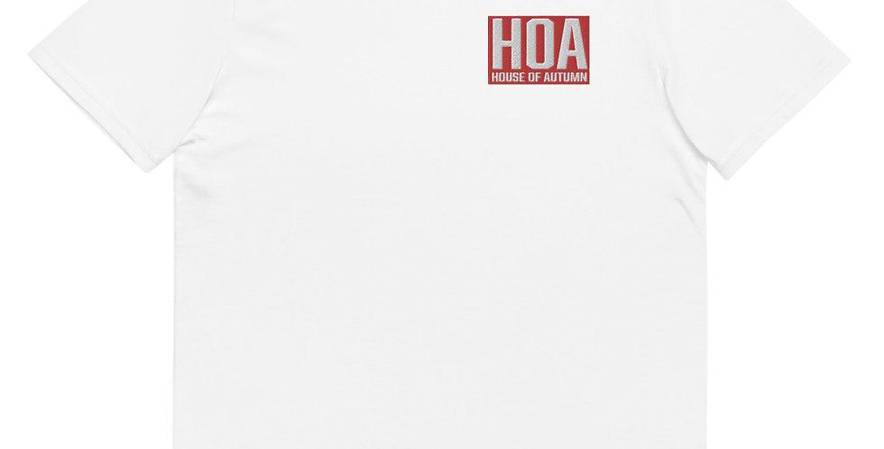 HOA 'House Of Autumn' Block Logo RED Embroidery Unisex organic cotton t-shirt