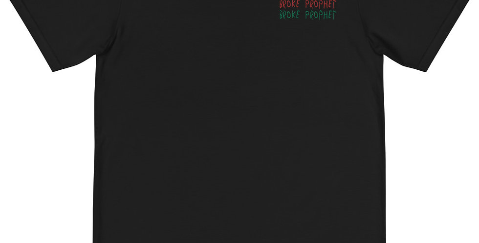 """House Of Autumn 'Broke Prophet"""" Red/Green Embroidered Organic T-Shirt"""