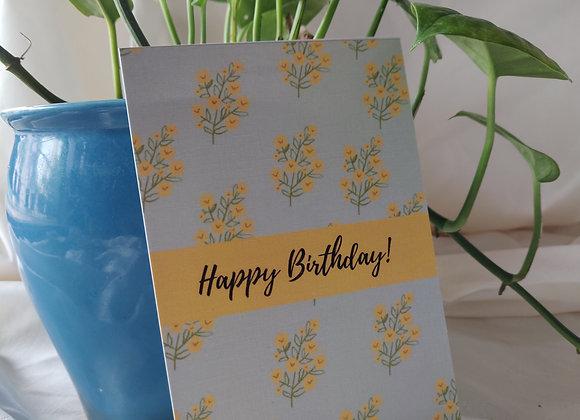 Mustard Stripe - Happy Birthday Card